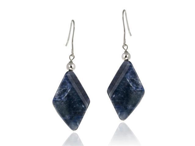Sterling Silver Sodalite Geometric Dangle Earrings