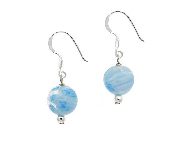 Sterling Silver .925 Murano Glass 10mm Light Blue Bead Beaded Millefiori Dangle
