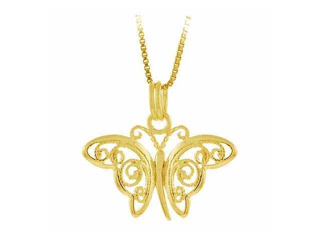 Vermeil (24k Gold over Sterling Silver) Filigree Butterfly Pendant