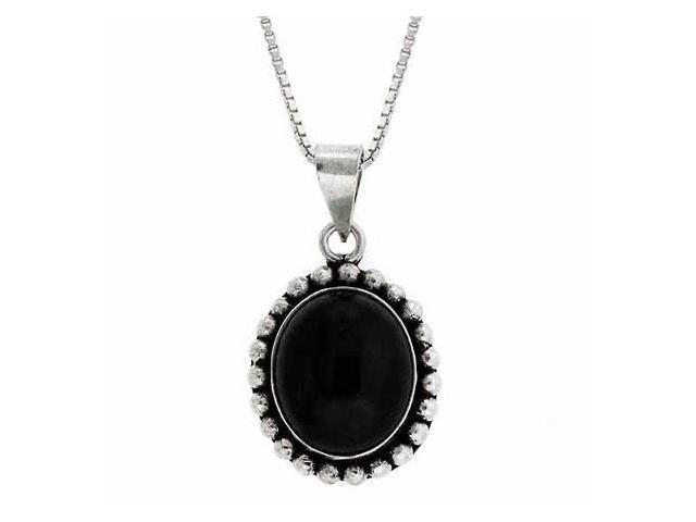 Serling Silver Genuine Onyx Stone Bali Bead Oval Pendant