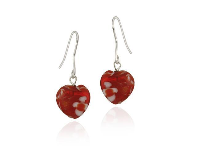 Sterling Silver Murano Glass Red Oval Flower Millefiori Heart Earrings Valentine
