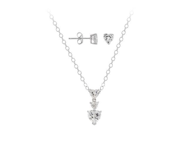 Sterling Silver Triple CZ Heart Stud Pendant & Stud Earrings Set