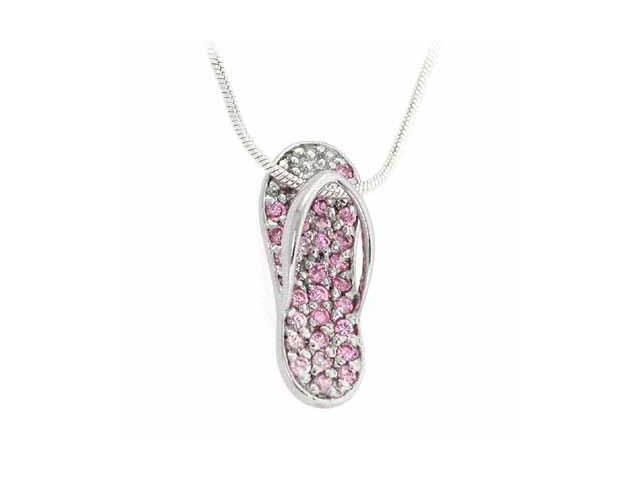Sterling Silver Pink Cubic Zirconia Slipper Flip Flop Pendant