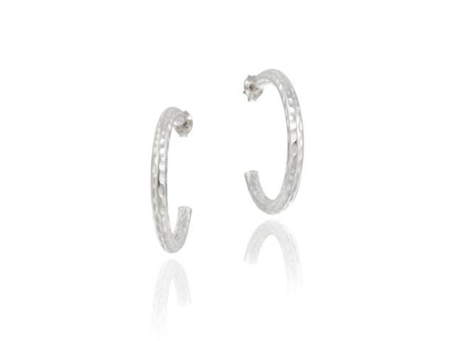 Sterling Silver Sparkling Hoop Earrings