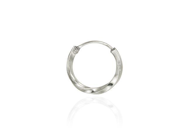 Sterling Silver 14mm Twist Hoop Men's Earring