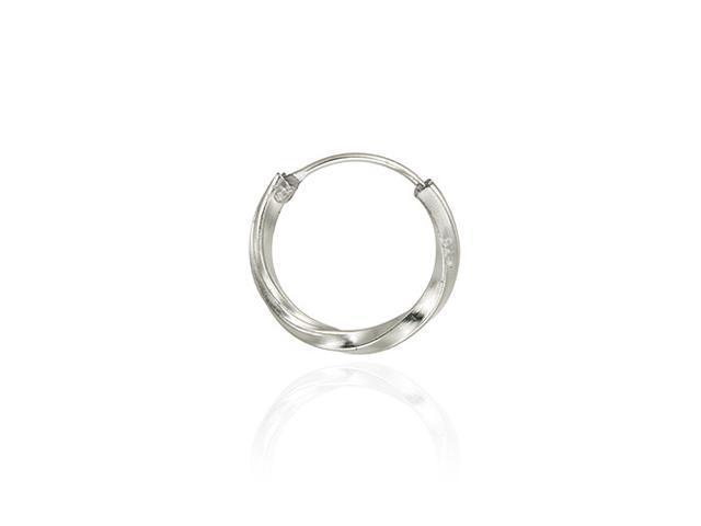 Sterling Silver 14mm Twist Hoop Men's Earring