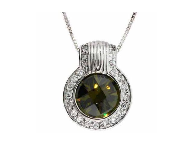 Sterling Silver Round Olive Green and Simulated Diamond CZ Circle Pendant