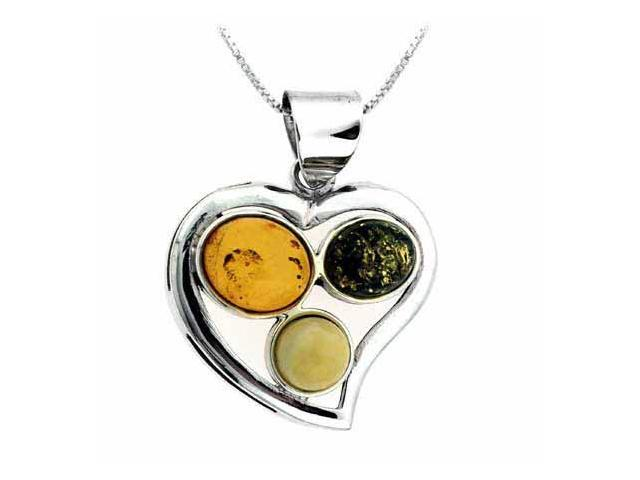 Sterling Silver Genuine Green and Brown Amber Heart Pendant