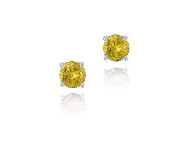 Sterling Silver 1/4 Ct. TDW Yellow Diamond Stud Earrings