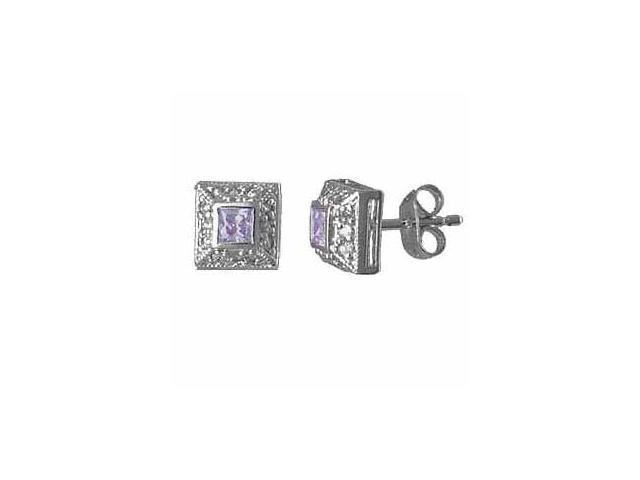 Sterling Silver Lavender Cubic Zirconia (CZ) and Simulated Diamond CZ border Squ