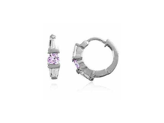 Sterling Silver Lavender and Simulated Diamond CZ Hoop Earrings