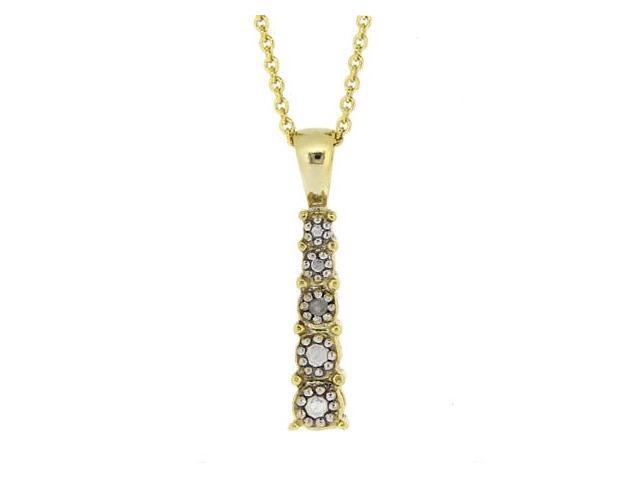 18k Gold Over Silver Graduating Diamond Accent Journey Pendant