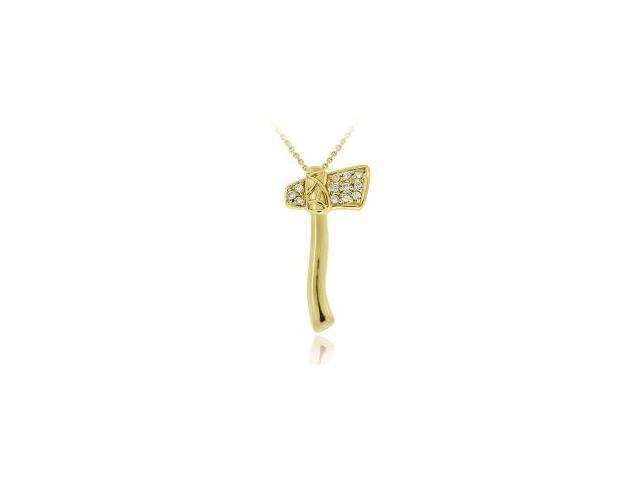 18K Gold over Sterling Silver CZ Axe Pendant