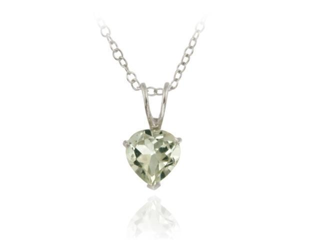 Sterling Silver 1.1ct. TGW Green Amethyst 7mm Heart Solitaire Pendant, 18