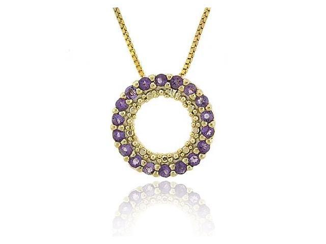 Vermeil (24k Gold over Sterling Silver) Genuine Amethyst  Stone Prong Round Eter