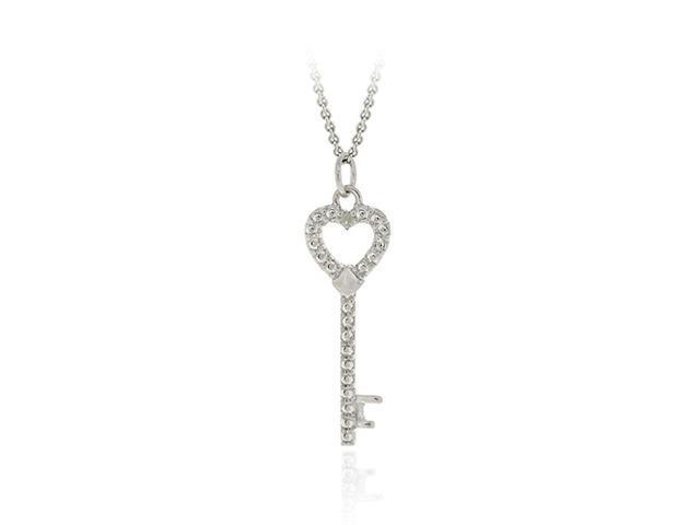 Sterling Silver Diamond Accent Designer Heart Key Pendant