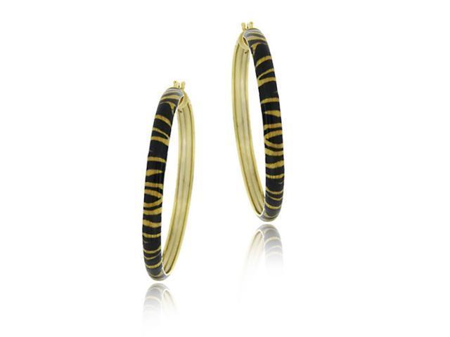 18k Gold Over Sterling Silver Enamel Tiger Pattern 40mm Hoop Earrings