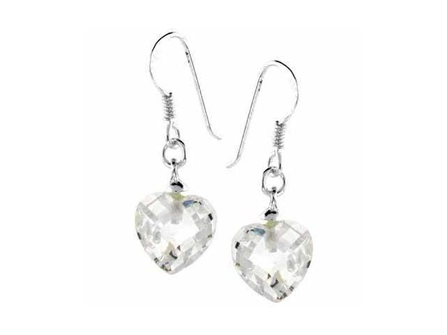 Sterling Silver Simulated Diamond CZ  Dangling Heart Earrings
