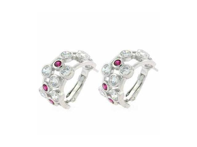 Designer Simulated Diamond CZ and Red CZ Sterling Silver Half Hoop Bubble Earrin