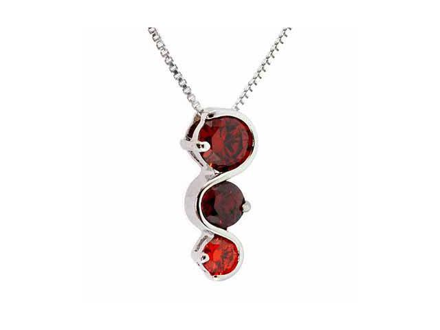 Sterling Silver Past Present and Future Red Pendant