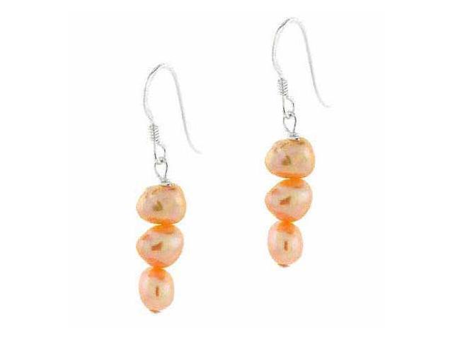 Genuine Freshwater Cultured Biwa Peach Pearl Earrings