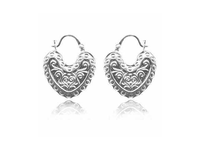Sterling Silver Puffed Bali Heart Earrings