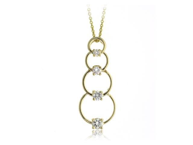 18K Gold over Sterling Silver CZ Circle Journey Pendant