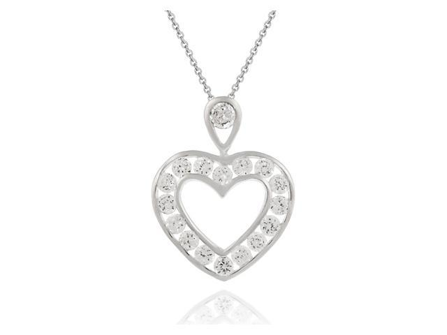 Sterling Silver open Heart Pendant w/ round Channel set Simulated Diamond CZ
