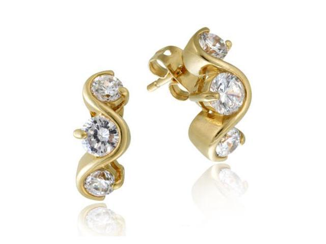 18k Gold over Silver Three Stone CZ Curved Earrings