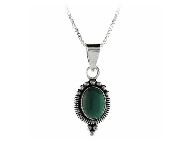 Sterling Silver Bali Bead Genuine Malachite Stone Oval Pendant