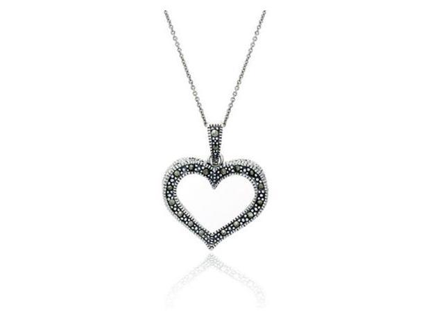 Sterling Silver & Marcasite Open Heart Pendant