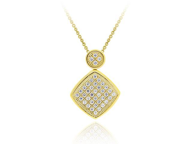 18K Gold over Sterling Silver CZ Micro Pave Diamond Shaped Pendant