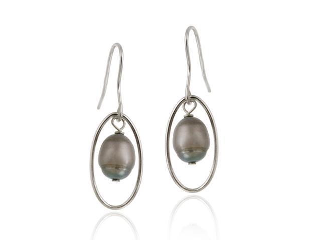 Sterling Silver Freshwater Cultured Grey Pearl Dangle Earrings