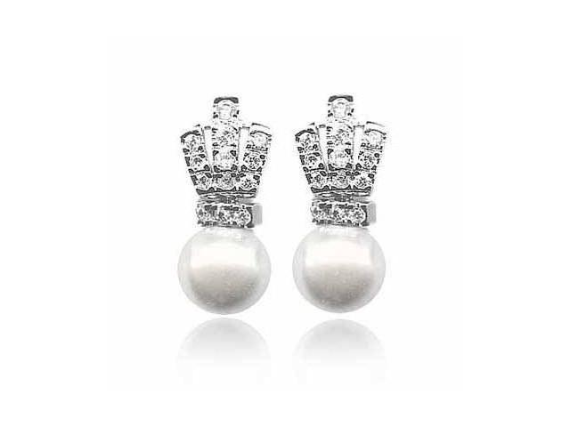 Sterling Silver Classic Simulated Diamond CZ White Glass Simulated Pearl Earring