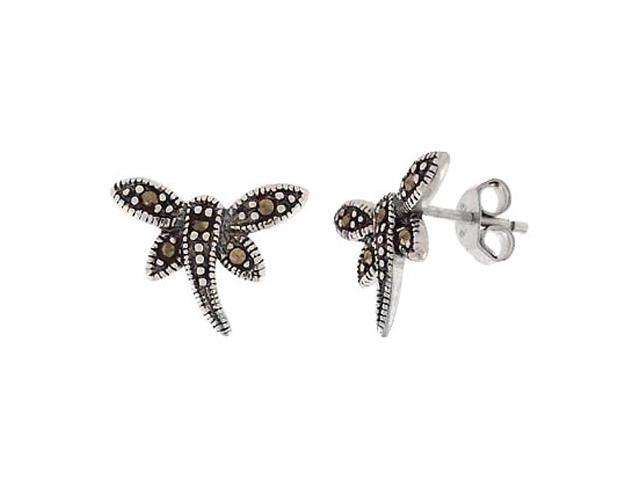 Sterling Silver & Marcasite Dragonfly Earrings