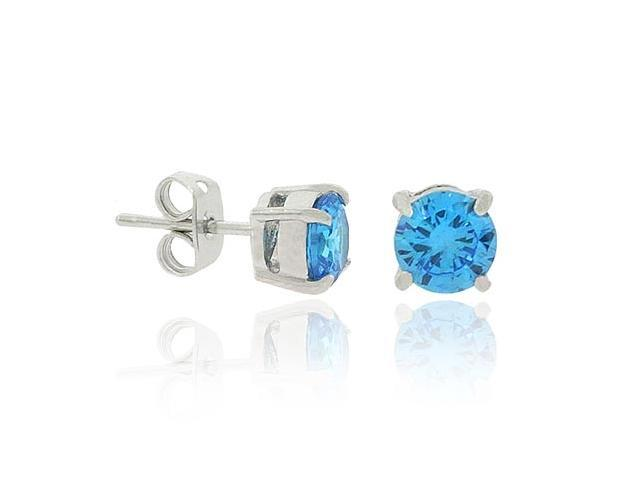 Sterling Silver .925 London Blue Cubic Zirconia cz Stone Prong 6mm Stud Earrings