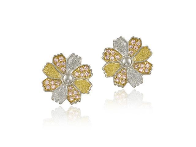 Sterlilng Silver & Gold Overlay Two Tone Pink CZ Flower Earrings
