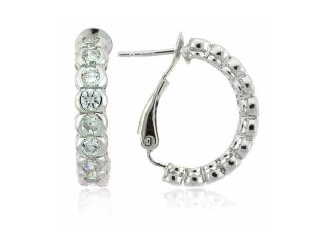 Sterling Silver Simulated Diamond CZ Hoop Earrings