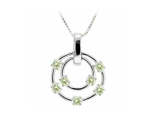 Sterling Silver Floating Light Green Cubic Zirconia Double Circle Pendant