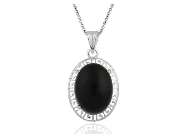Sterling Silver Oval Onyx Greek Key Design Pendant