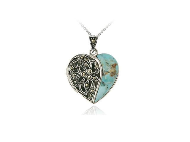 Sterling Silver Marcasite & Reconstituted Turquoise Heart Pendant