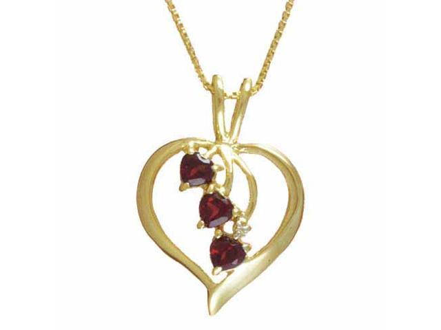 Vermeil (24kt Gold over Silver) Genuine Garnet and Diamond Accent Heart Pendant