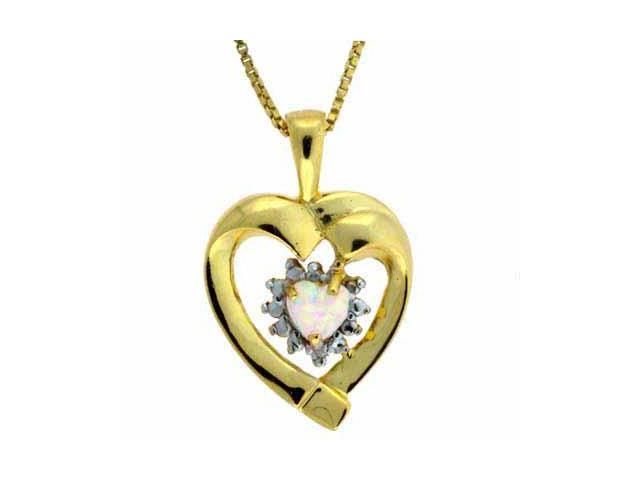 18K Gold over Sterling Silver Genuine Diamond Accent Open Heart Pendant w/ Opal