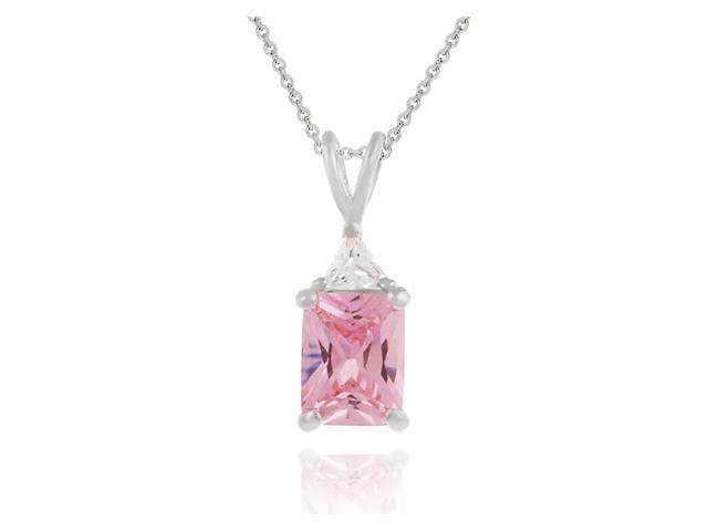 Sterling Silver Emerald cut Pink Cubic Zirconia and Simulated Diamond CZ Pendant