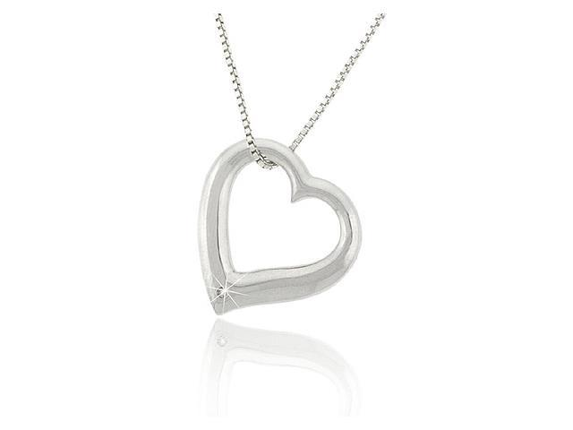 Sterling Silver .925 Genuine Diamond Open Heart Pendant