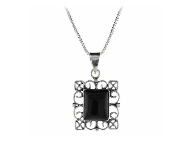 Genuine Onyx Stone Sterling Silver Filigree Rectangle Pendant
