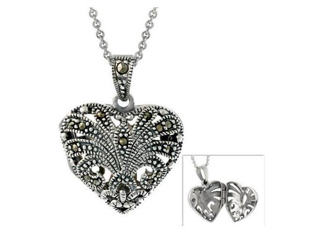 Sterling Silver Marcasite Antique-Styled Heart Locket Pendant