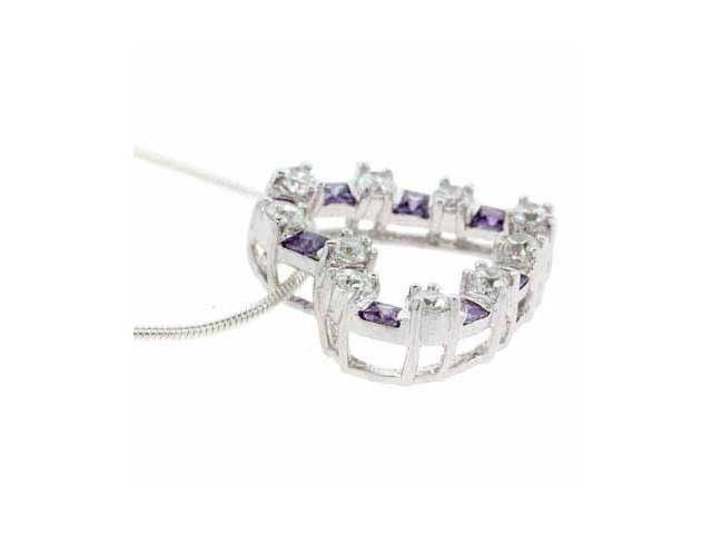 Sterling Silver Simulated Amethyst and Simulated Diamond CZ Square and circle He