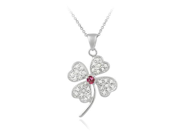 Sterling Silver Red CZ Four Leaf Clover Pendant