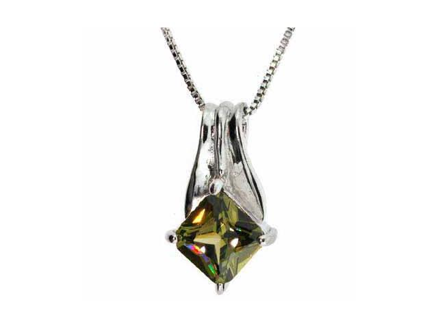 Sterling Silver Diamond shaped Dark Green Olive Pendant